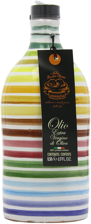 """Antico Frantoio """" Muraglia """" – Orcio in ceramica arcobaleno con Olio Extra Vergine d'oliva 500ml"""